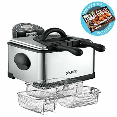 Gourmia GDF450 Compact Electric Deep Fryer 3 Baskets Dual Th