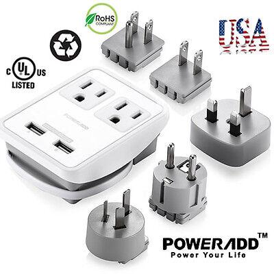 Universal World Travel Adapter Dual USB AC Power Plug Converter UK/US/AU/EU/JP