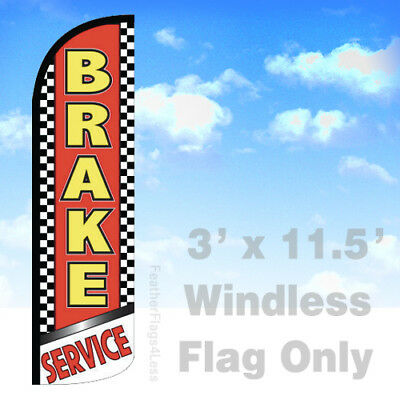 Brake Service - Windless Swooper Feather Flag 3x11.5 Banner Sign - Rq
