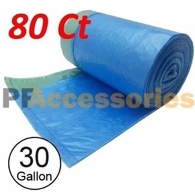 80 Ct 30 Gallon Can Bottle Recycling Drawstring Large Trash Bag Garbage (Blue)