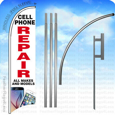 Cell Phone Repair All Makes - Windless Swooper Flag Kit Feather Sign 15 - Wb