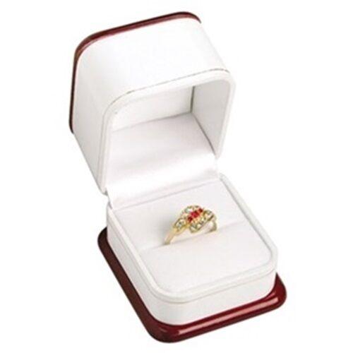 1 Premium Rose Wood Veneer & White  Ring Jewelry Display Gift Boxes