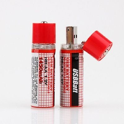 USB Rechargeable AA Batteries 1450mAh, 1.2V (2Pack)