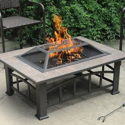 Outdoor Fireplace Fire Pit Table Stone Top Firepit Burner Wood Patio Furniture