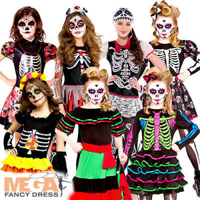 Day of the Dead Girls /W Facepaint Fancy Dress Halloween Kids Childs Costumes