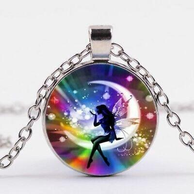 Rainbow Fairy Tibet Cabochon Glass Pendant Necklace