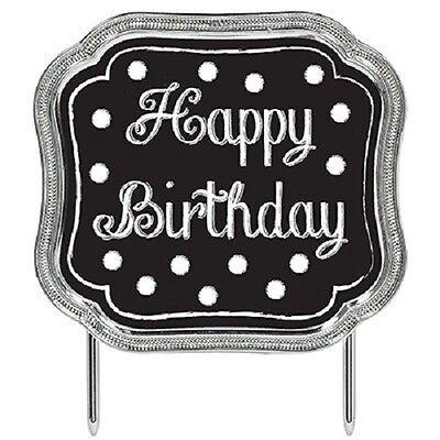 CHALKBOARD HAPPY BIRTHDAY PLASTIC CAKE PICK TOPPER BLACK WHITE SILVER DECORATION](Chalkboard Happy Birthday)