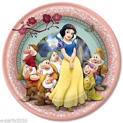 SNOW WHITE AND THE SEVEN DWARFS LARGE PAPER PLATES (8) ~ Birthday Party Supplies - White Party Plates