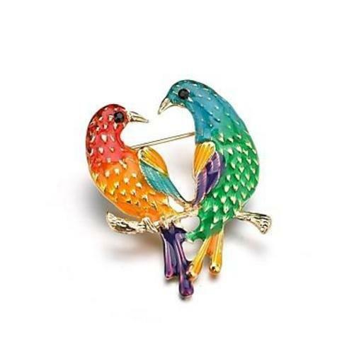 18k Gold Plated Enamel Classic Colorful Love Bird Brooch 665355658360 Ebay