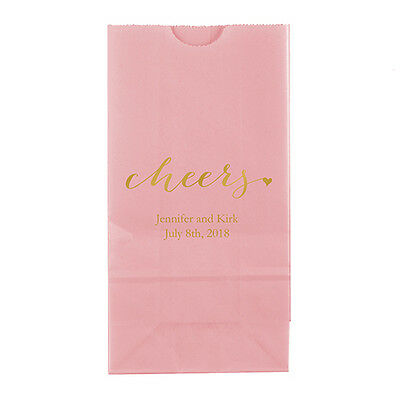 50 Cheers Personalized Printed Wedding Favor Bags Candy Buffet