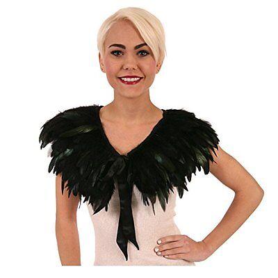 Schwarz Gefedertes Feder Umhang Halskette Erwachsener Reiz Hexe Kostüm Zubehör (Erwachsene Hexe Kostüme Zubehör)