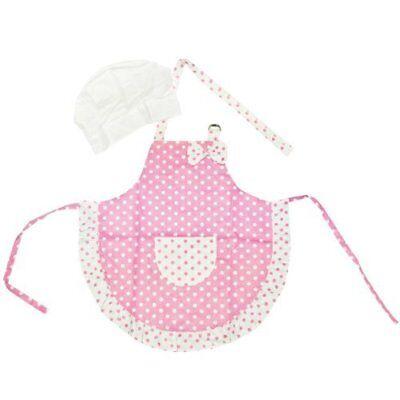 Kella Milla Pink Polka Dots and Ruffles Kids Apron & Hat Set - (Kids Polka Dots Apron)