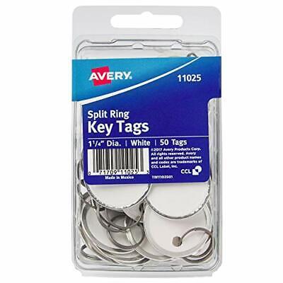 """Avery Metal Rim Key Tags 1.25"""" Diameter Tag Metal Split Ring White 50 Tags 11025"""