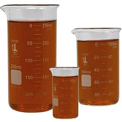 Glass Beaker Set Tall Form 3 Sizes - 50 100 And 250ml 3.3 Borosilicate