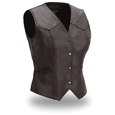 - First Classics Ladies Genuine Leather Motorcycle Club Vest, Lightweight F500
