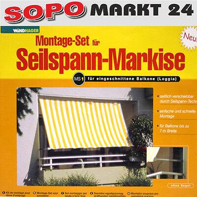Seilspann Markise für Balkone bis 7m MS1 MS2Sonnensegel Sonnenschutz Windhager
