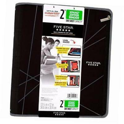 Five Star Xpanz 2 Zipper Binder Gray Lines 380 Sheet Capacity Removable Pouch