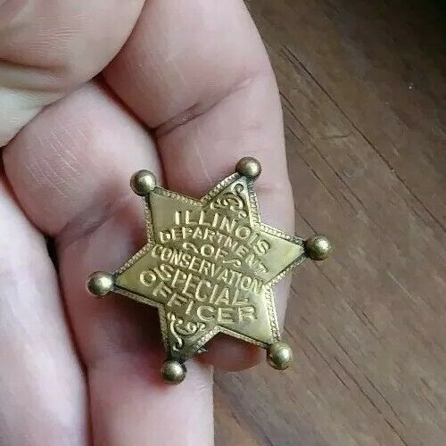 1930 STAR SMALL ILLINOIS DEPT CONSERVATION SPECIAL OFFICER POLICE BADGE OBSOLETE