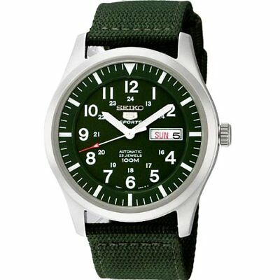 Seiko Men's 5 Automatic Green Dial and Band Watch SNZG09J1