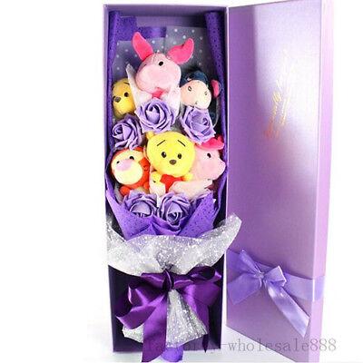 Birthday Gift Bunch Of 6 Winnie The Pooh Dolls Toys Flowers Xmas Creative Box US](Creative Halloween Games)