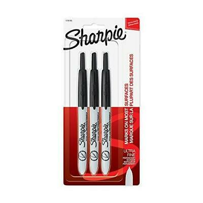 Sharpie Retractable Permanent Markers Ultra Fine Point Black 3 Count