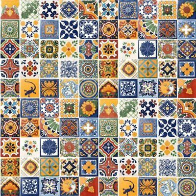 """100 Hand Painted Talavera Mexican Ceramic Tiles w Spanish Influence Size 4"""" x 4"""""""