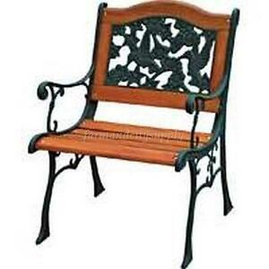 Iron And Wood Patio Furniture cast iron chair | ebay