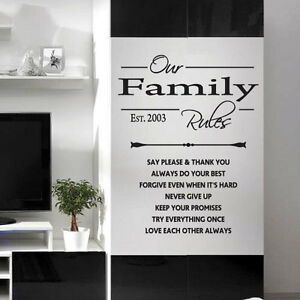 Familia reglas pared frases pegatina adhesivos de arte - Decoraciones para paredes ...