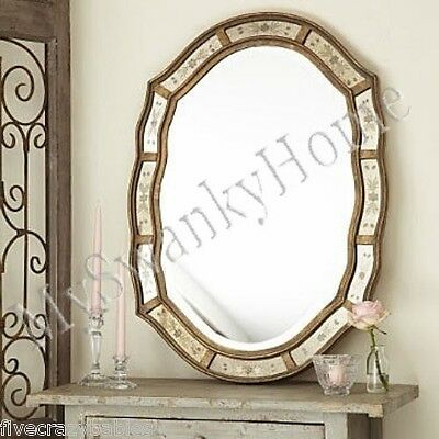 "Etched VENETIAN Antique Vanity Mirror NEIMAN MARCUS 35"" Wall Victorian Romantic"