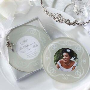 Photo Coaster (Glass, round, elegant) Brand new. 16 total.