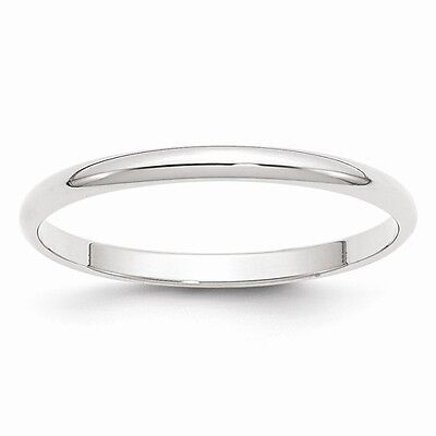 10k Solid White Gold 2mm Plain Men's And Women's Wedding ...