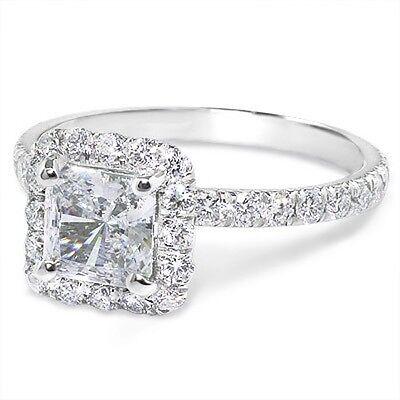1.87 Ct Halo Princess Cut Diamond Engagement Ring U-Setting Pave H/VVS2 GIA 14k