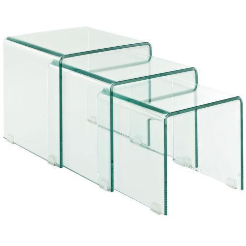 Glass nesting tables ebay for Glass nesting coffee tables