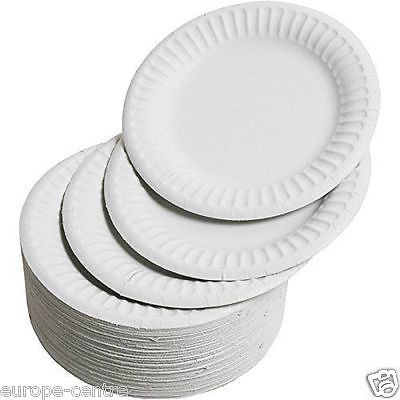 WHITE ROUND DISPOSABLE PAPER PARTY PLATES SMALL LARGE 18CM 7