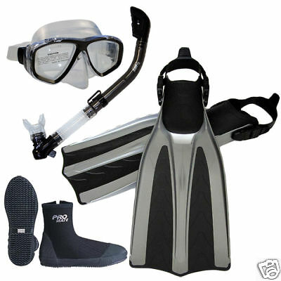 Professional Scuba Dive Silicone Mask Dry Snorkel Boots Fins Package Gear Set ()