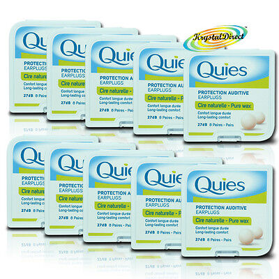 10 Quies Pure Natural Wax Ear Plugs Earplugs Protection 8 pairs (Quies Ear Plugs)