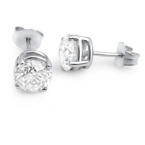1.1 Ct Si1/e Stud Enhanced Round Diamond Earrings 14k White Gold Engagement