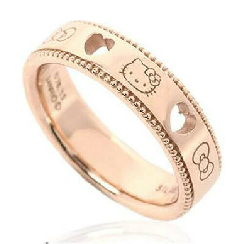 Hello Kitty Open Heart Lace Ring Pink Gold Size Fashion Accessory Sanrio Japan