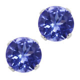 1.00 Ct Round Cut Tanzanite Solid 14K White Gold Stud Earrings 5mm