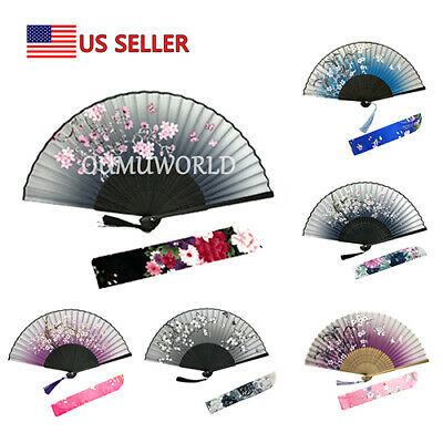Hand Fan Chinese Japanese Silk Elegant Modern Folding Fan Flower Butterfly New