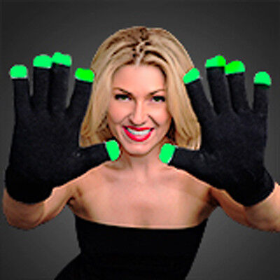 HALLOWEEN Light Up Black LED Gloves Rave Party Dance Party Flashing Fun!
