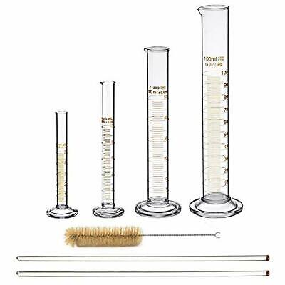 Glass Graduated Cylinder Set Thick Measuring Cylinders 5ml 10 Ml 50ml 100ml W...