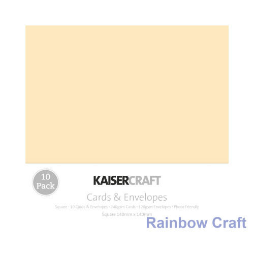 Kaisercraft 10 blank Cards & Envelopes Square / C6 size (12 selections) - Cream