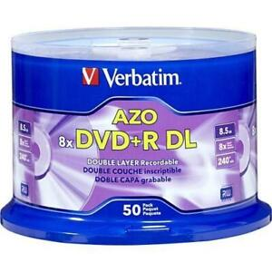 Verbatim DVD+R DL 8.5GB 8X with Branded Surface - 50pk Spindle - 120mm - 4 Hour Maximum Recording Time - TAA Compliance