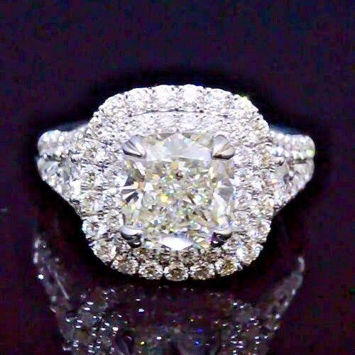 2.80 Ct Cushion Cut Diamond Dual Halo Split Shank Engagement Ring G,VS1 GIA 14K