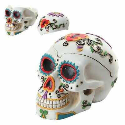 Day of The Dead Themed Skull Hand Painted Resin Ashtray