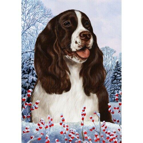 Winter Garden Flag - Liver and White English Springer Spaniel 150311