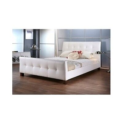 Queen Size Platform Bed Frame Upholstered Headboard White Tu