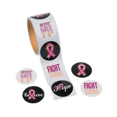 100 Pink Ribbon Sayings Roll Stickers Breast Cancer Awareness 1 1/2