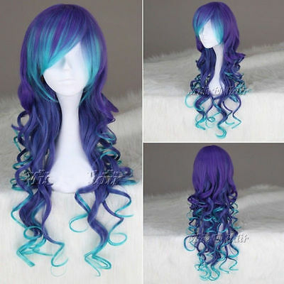 75cm Long Curly multi color synthetic Cosplay costume wigs anime lolita wig